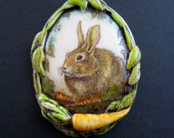 bunny rabbit carrot scrimshaw technique pin brooch