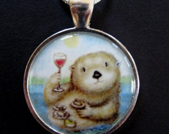 Sea Otter with wine glass clams and sushi  miniature giclee print pendant