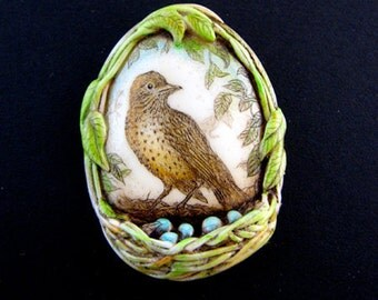 bird nest with blue eggs pin pendant wildlife scrimshaw technique
