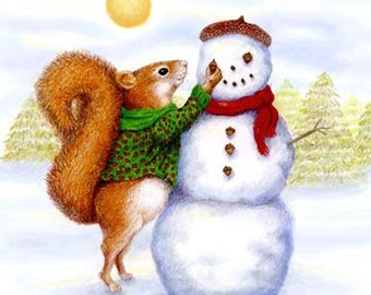 red squirrel snowman Christmas Moosup giclee print reproduction