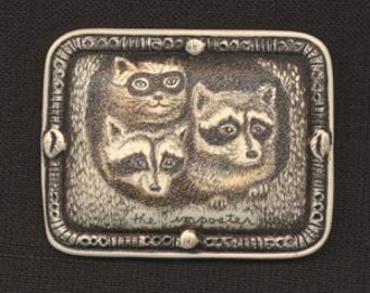 cat raccoon imposter mask tree kitten Moosup brooch pin