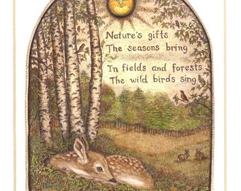 Nature gifts fawn deer rabbit robin mouse birch tree Moosup art giclee print