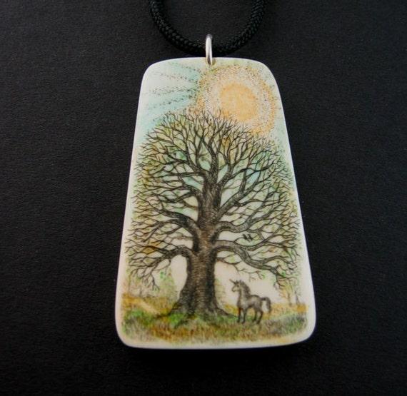 Original scrimshaw  unicorn under old tree mammoth ivory pendant