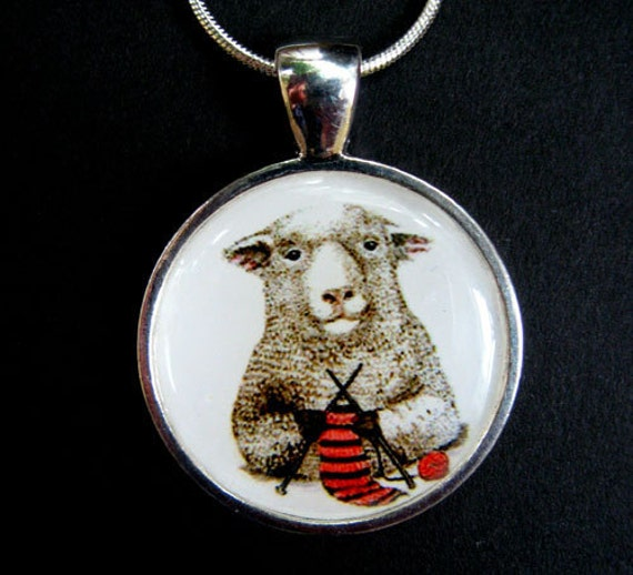sheep knitting needles yarn scarf miniature giclee print pendant