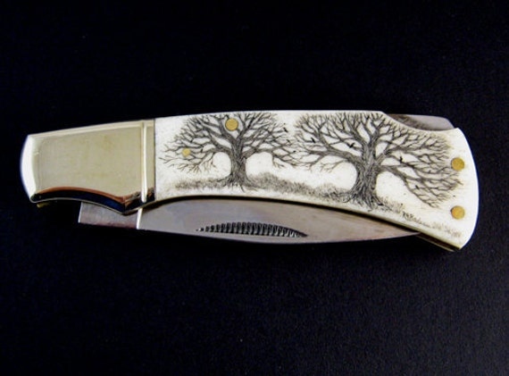 "Original scrimshaw ""Twin Oaks""  tree Father's Day folding pocket knife"