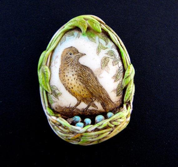 bird nest with blue eggs pin pendant wildlife scrimshaw technique