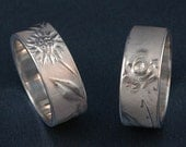 Wide Silver SUNFLOWER or ROSE Band, 9mm Ring - SymBand Collection