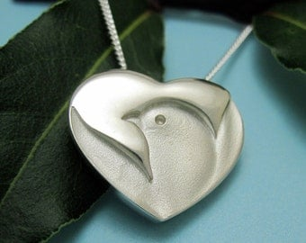 Silver Dove Necklace, Heart Necklace - Peace Dove Heart Pendant with Silver Chain