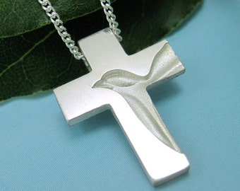 Silver Dove Cross, Holy Spirit Cross Necklace - Peace Dove Cross Pendant with Chain, Spiritus Jewelry