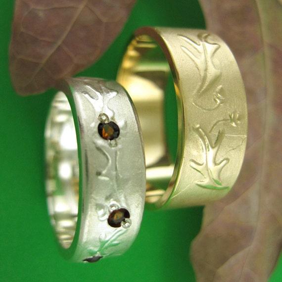 Oak Leaves Acorns Wedding Ring, Narrow Citrine Band, FLUTTERING OAK LEAF - SymBand Collection
