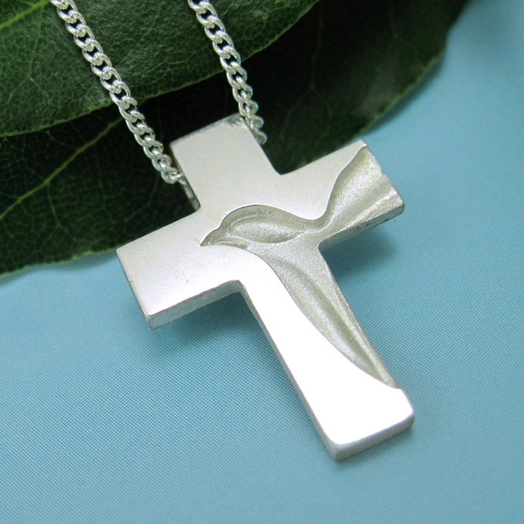 Silver Dove Cross Holy Spirit Cross Necklace Peace Dove