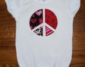 Valentine Peace Sign Appliqed One Piece
