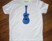 Blue Guitar on White T-shirt