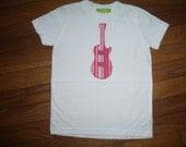 Pink Guitar on White T-shirt