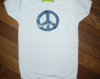 Blue Peace Sign Baby One-Piece