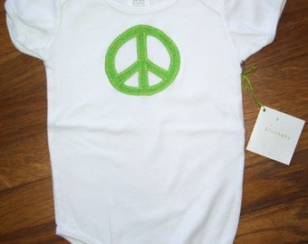 Green Peace Sign Baby One-Piece