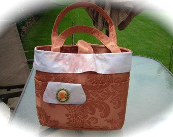 Orange peach damask fully lined shoulder bag purse with vintage brooch of orange rose