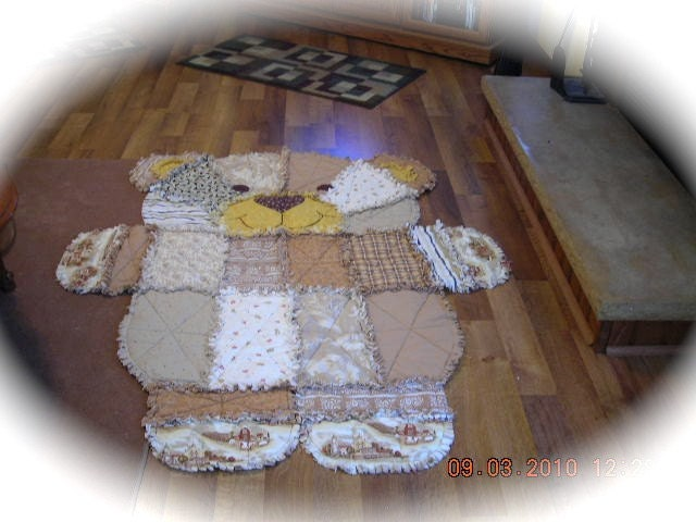 Large Teddy Bear Rag Quilt In Shades Of Browns By Justforewe2