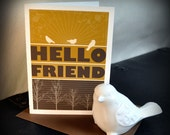 Note Card with fun modern typography and bird illustrations - HELLO FRIEND