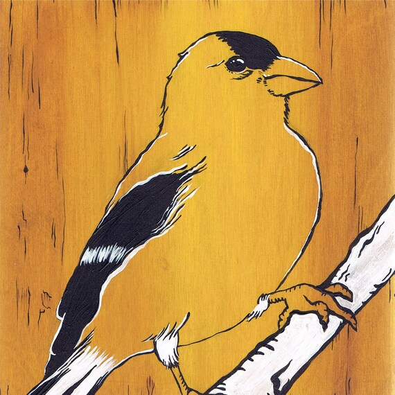 ART PRINT Yellow Songbird - Giclee Print of Original Painting