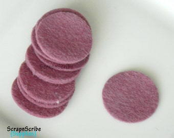 Wool Felt Circle - Supply Set of 10 Mulberry 1 inch