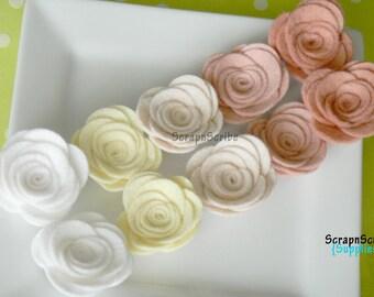 Wool Felt Rose  - Supply Set of 10 Blushing Bride Rose