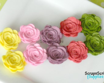 Small Wool Felt Rose Supply Set of 10 English Tapestry 1 inch rose