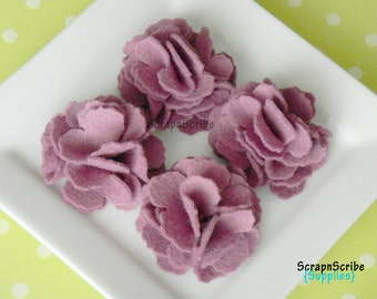 Wool Felt Flower Supply Set of 4 Mulberry