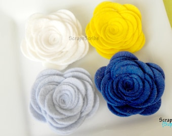 Wool Felt Flower Supply Set of 4 Large Rose Lakeside