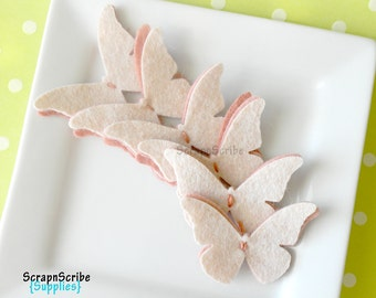 Wool Felt  Butterflies - Set of  6 blushing butterflies