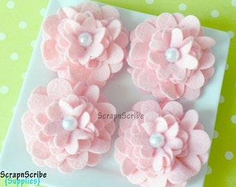 Pink Wool Felt Supply Set of 4 Large Mum Flowers