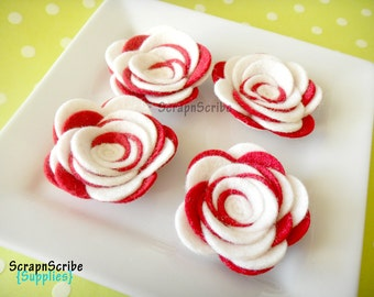 Wool Felt Rose  - Supply Set of 4 Large Peppermint Candy