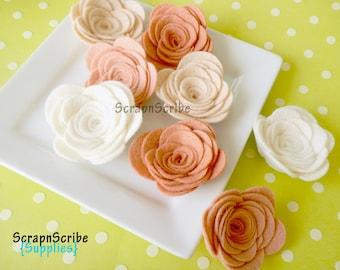 Wedding Roses Wool Felt Rose Supply Set of 10 Large Blushing Bride
