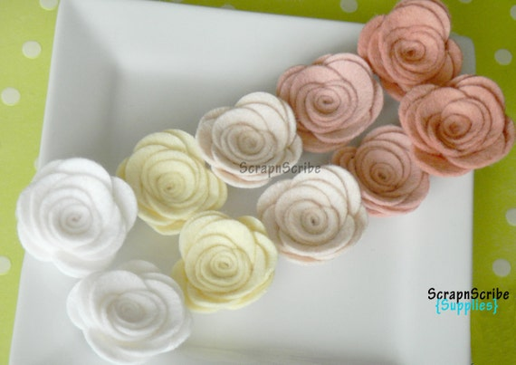 Wool Felt Rose  - Supply Set of 10 Blushing Bride Rose