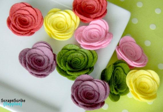 Wool Felt Rose Supply Set of 10 English Tapestry Rose