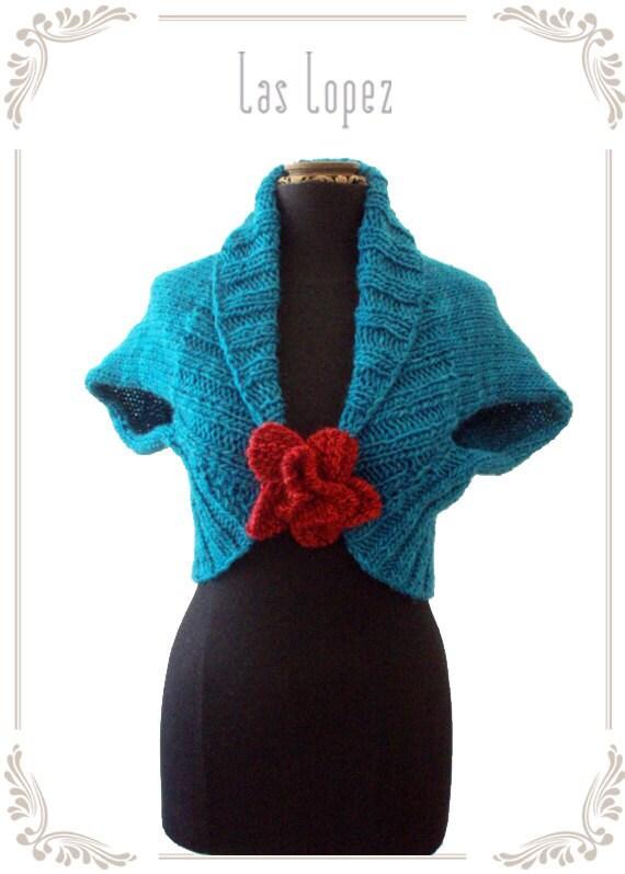 35 % off /// I NEED A FLOWER - hand knitting shrug bolero - with flower brooch - last one (I09/033)