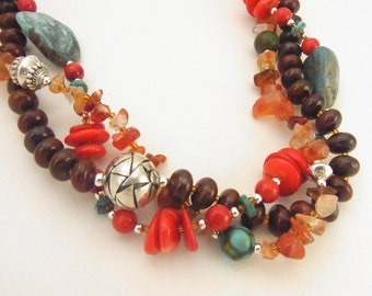 Southwest Coral Turquoise Sterling Silver in Red Sky CLEARANCE