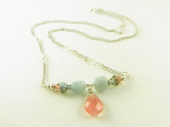 Cherry Quartz Beaded Bar Necklace Amazonite CLEARANCE