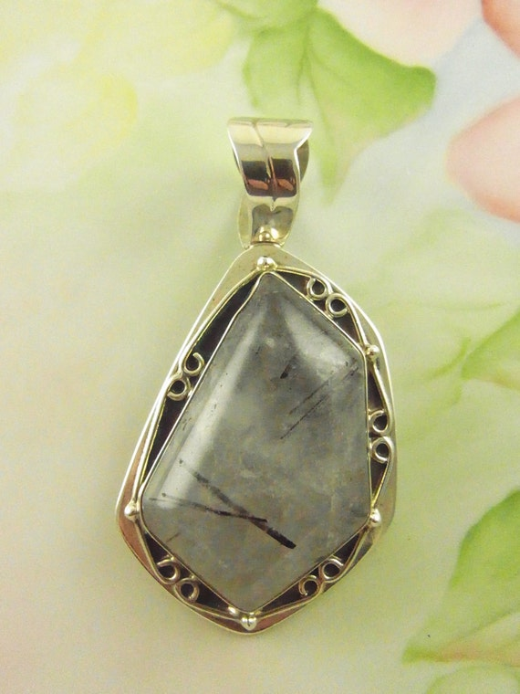 RESERVED FOR JESSE Sterling Silver Rutilated Quartz Pendant DeStash Clearance