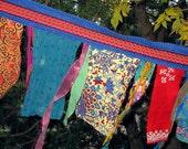 Glitzy Gypsy Celebration Flags Garland on blue (last set)