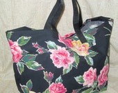 Reusable Shopping Market Bag with Vintage Roses