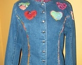 Denim Jacket with Colorful Hearts
