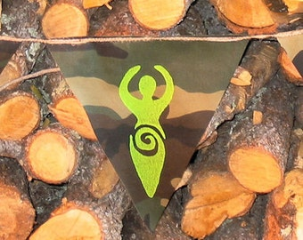 Wiccan Pagan Flags on Woodland Camo