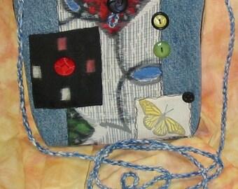 Gypsy Hippie silk denim messenger bag