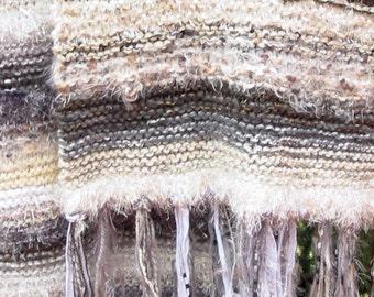 Winter Aspen Inspired Knit Shawl textured neutrals