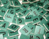 Lot of 160 Green Cardboard Anagram Letter Tiles or Game Pieces