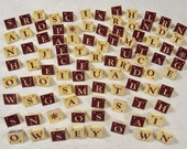 Vintage Double Sided Triangular Shaped Option Game Pieces with Alphabet Letters Set of 96