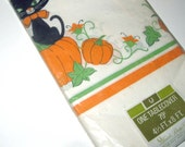 Vintage Black Cat and Pumpkins Halloween Paper Tablecloth in Package