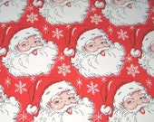 RESERVED FOR RACHAEL Vintage Red Christmas Wrapping Paper or Gift Wrap with Jolly Santa Claus