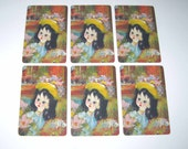 Vintage Santini Poncini Playing Cards with Little Girl in Hat Set of 6